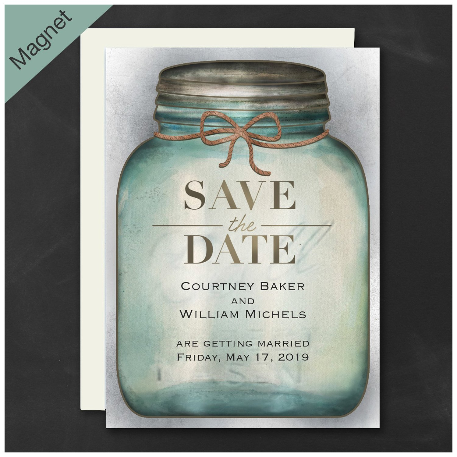 Personalized Carlson Craft Country Mason Jar - Save The Date Magnet Wedding Quantity 150 by All Things Weddings