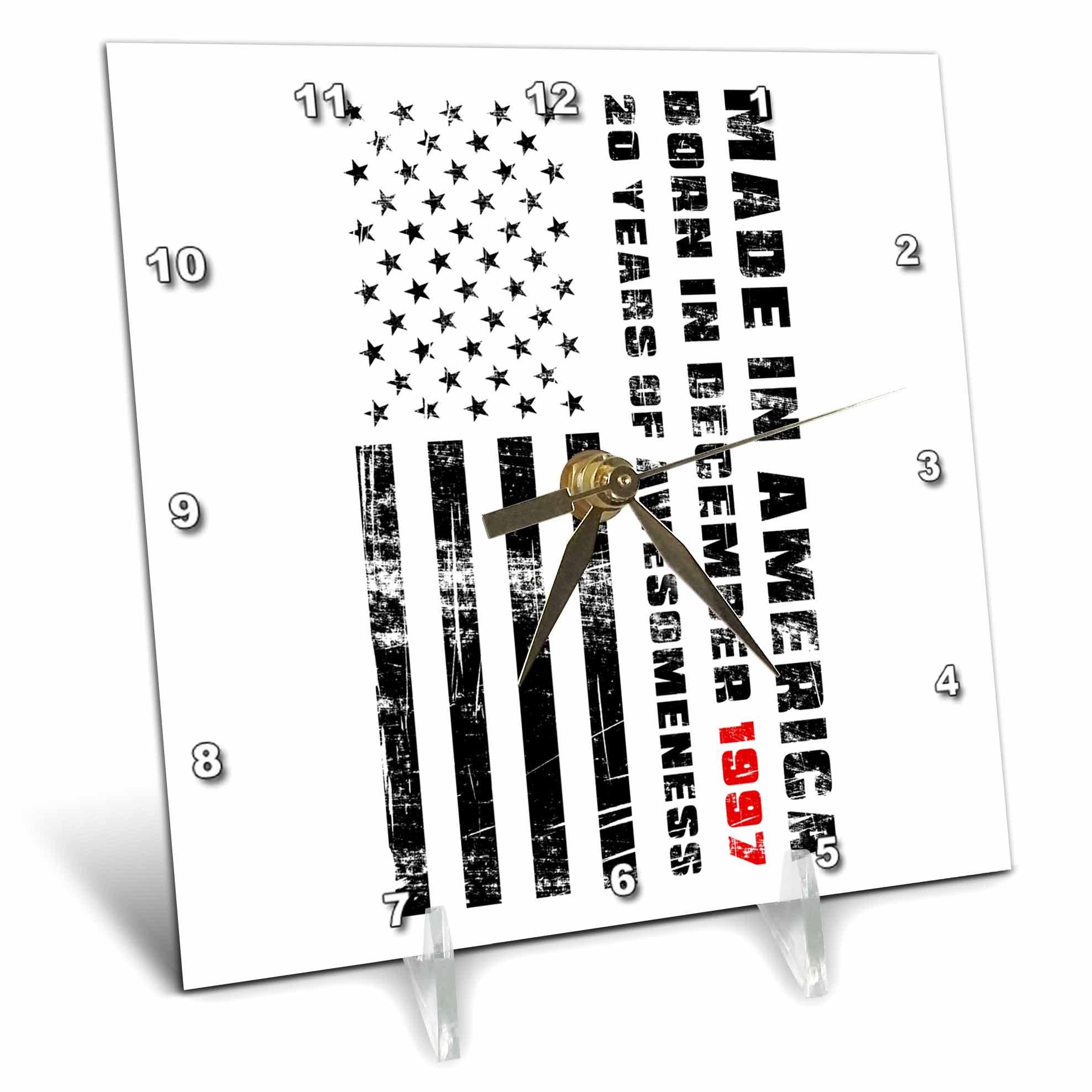 3dRose Carsten Reisinger - Illustrations - Made in America Born in December 1997 20 Years of Awesomeness Flag - 6x6 Desk Clock (dc_261171_1)