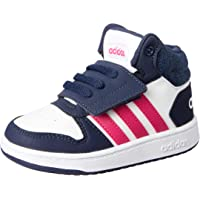 adidas Baby Girls' Hoops MID 2.0 Shoes, Footwear White/Real Magenta/Trace Blue, 18-24 Months (18-24 Months)