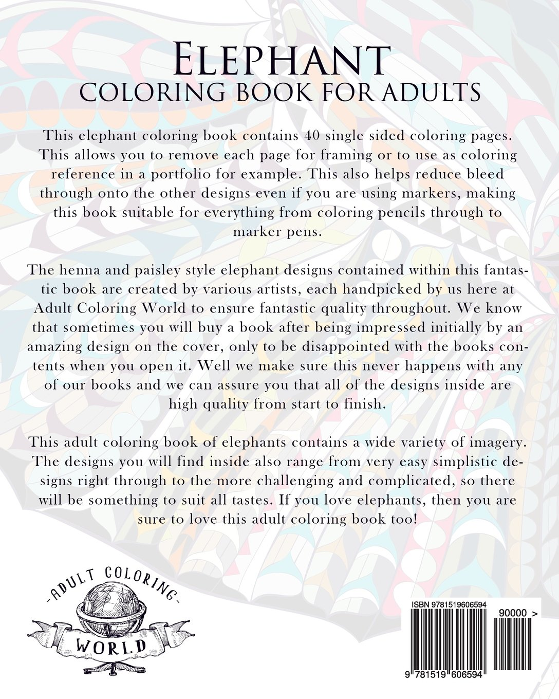 Coloring book pages of elephants - Amazon Com Elephant Coloring Book For Adults An Adult Coloring Book Of 40 Patterned Henna And Paisley Style Elephant Animal Coloring Books For Adults