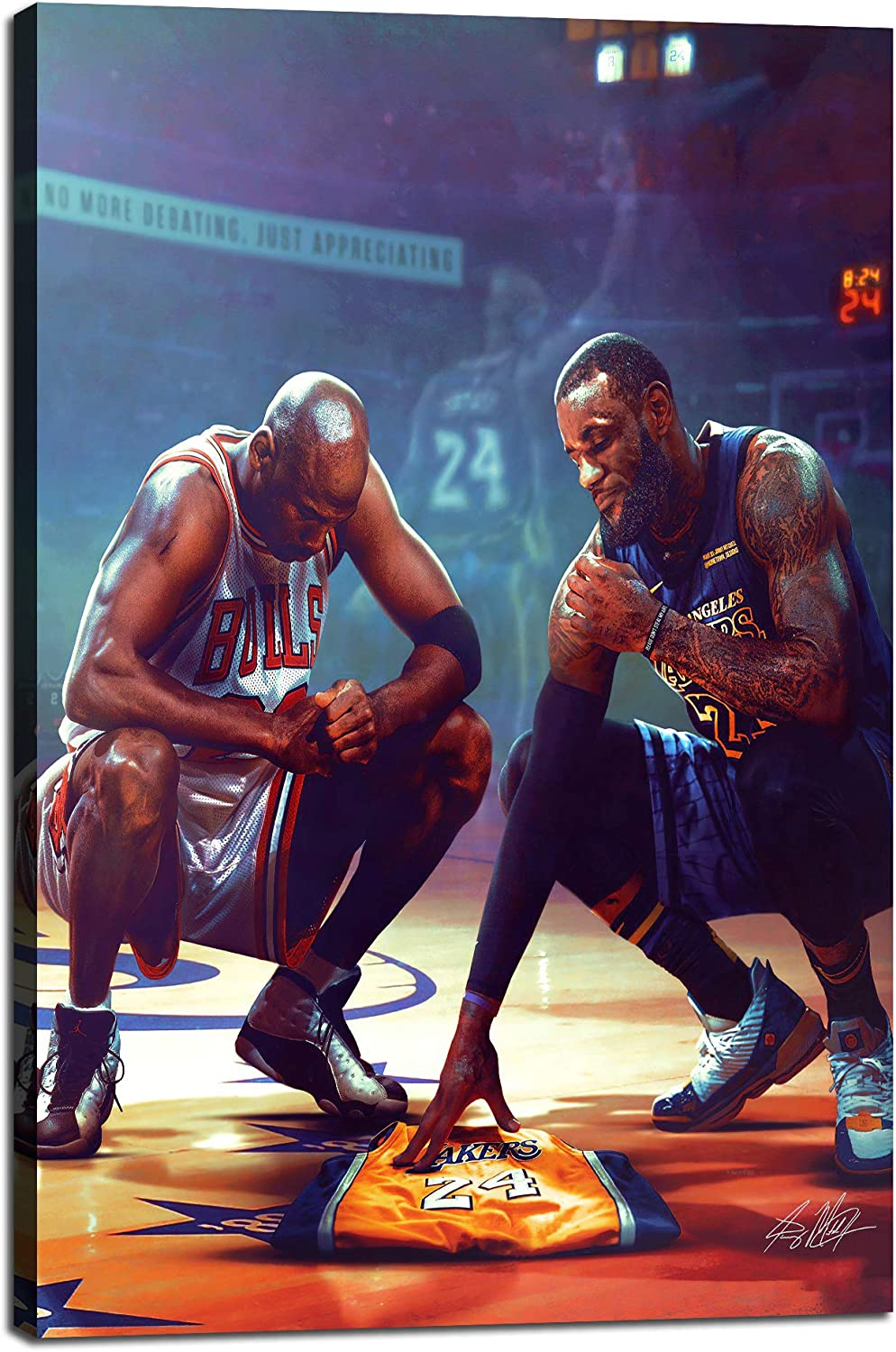 Kobe Bryant Michael Jordan Lebron James All Stars Basketball Sports Posters HD Printed Pictures Stretched and Framed Artwork Modern Home Decor Canvas Painting Wall Art Living Room [12''W x 18''H]