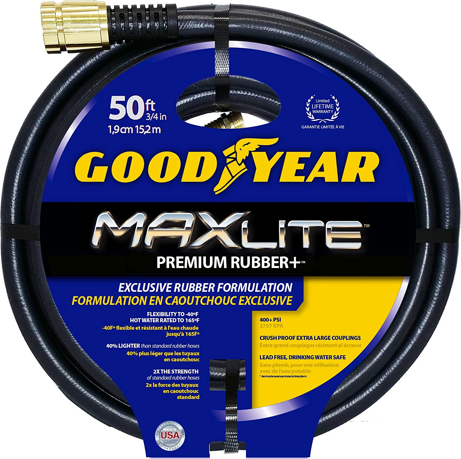 "Swan Products CGYSGC58050 Goodyear MAXLite Premium Rubber+ Water Hose with Crush Proof Couplings 50' x 5/8"", Black"