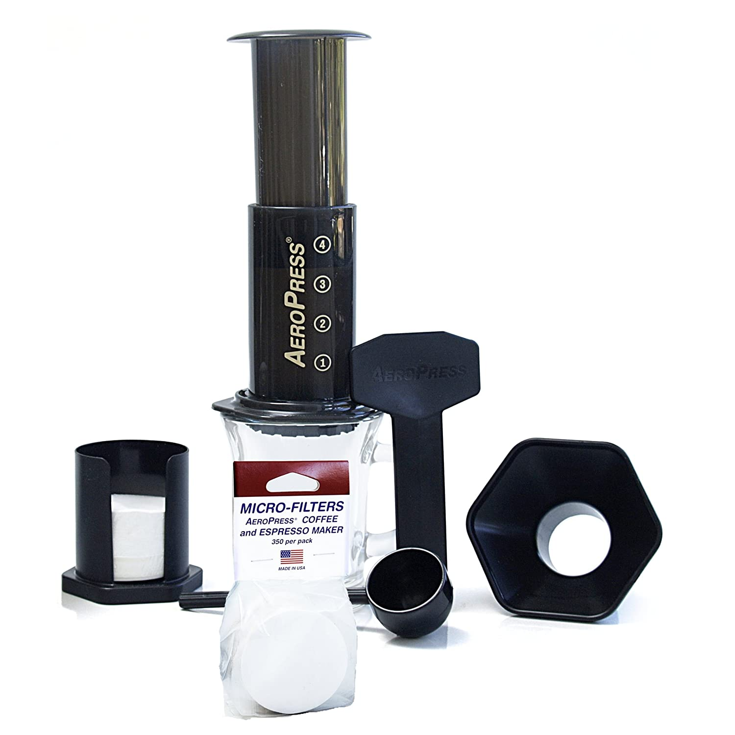 Aeropress Coffee Maker + Extra 350 Micro Filters - Aerobie by Aerobie