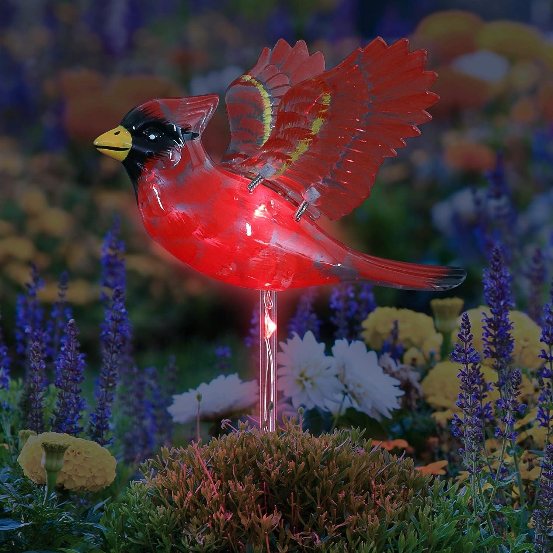 "Exhart Solar Red Cardinal Bird Garden Stake for Patio – Bird-Inspired Garden Art Decor w/Solar Powered LED Light Flower Body – UV-Treated & Hand Painted Stake for Lawn & Yard Decor, (7"" x 7"" x 30.5"")"