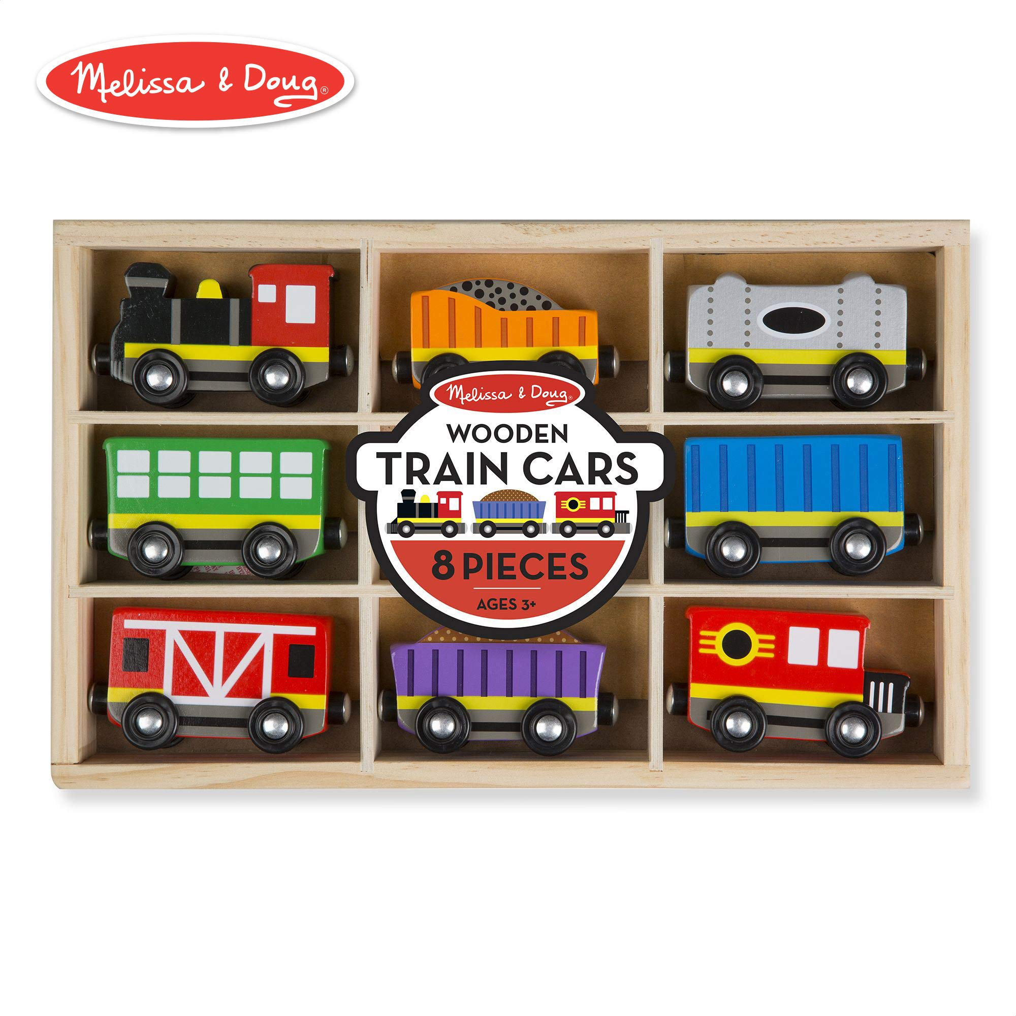 Melissa & Doug Wooden Train Cars (8-Piece Train Set) by Melissa & Doug