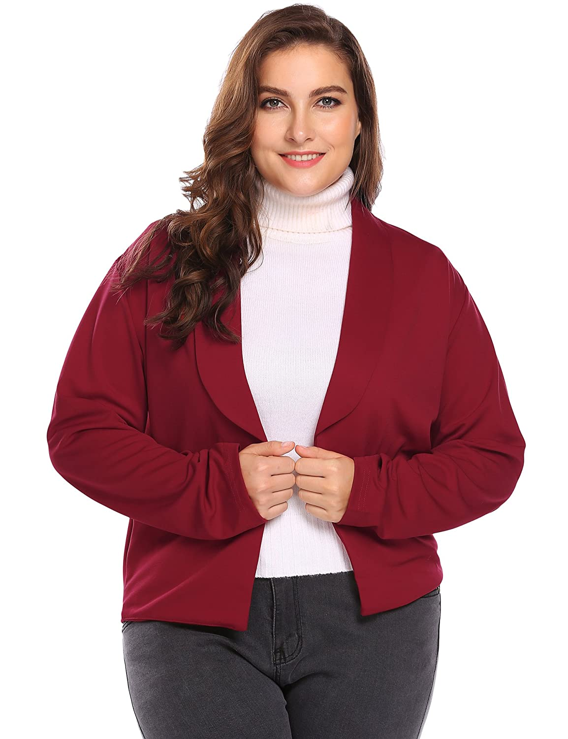 IN'VOLAND Womens Classic 3/4 Sleeve Knit Open Front Cropped Cardigan INH022736