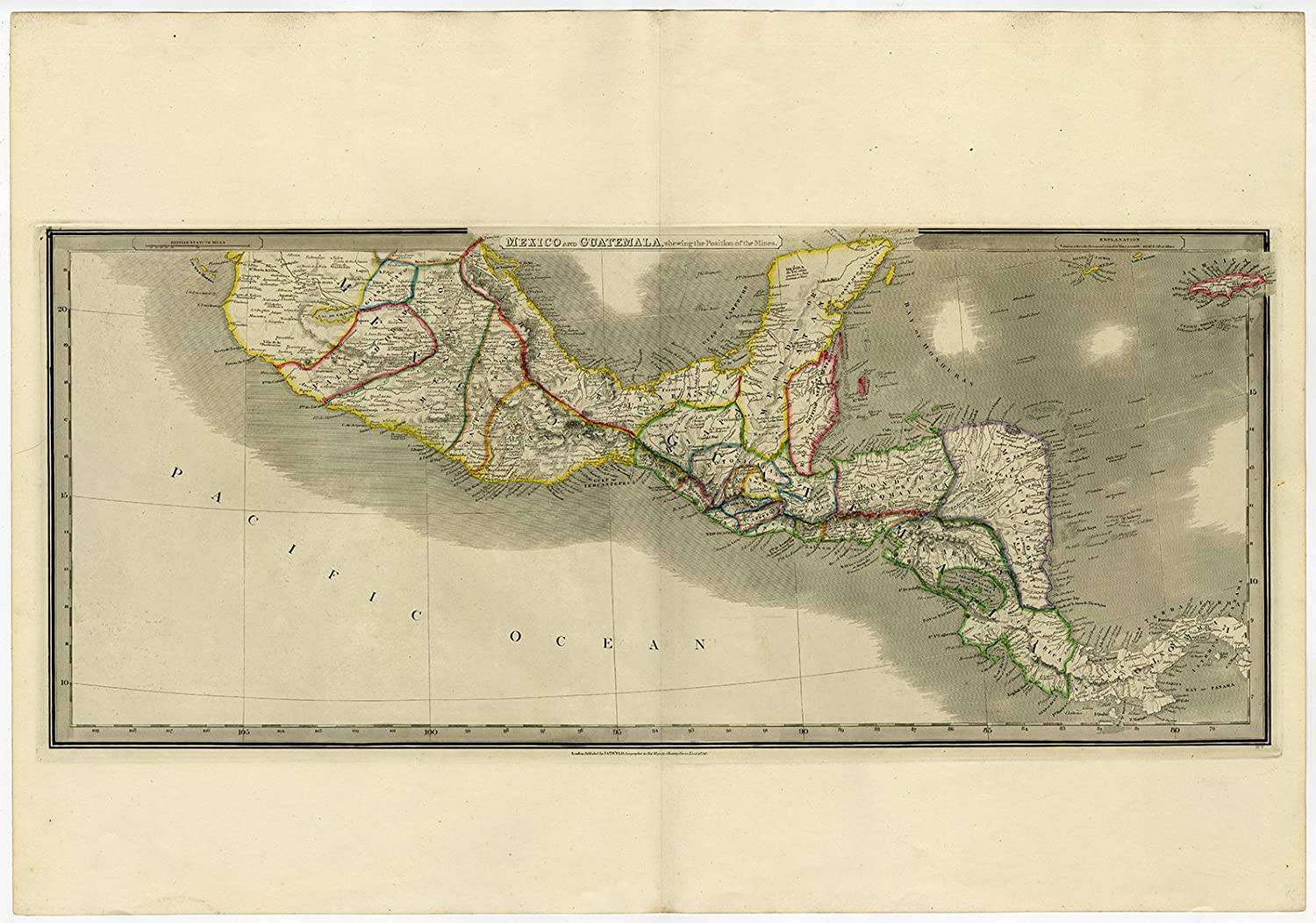 Mexico Map 1850.Amazon Com Theprintscollector Antique Map Central America Mexico