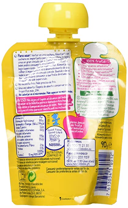 Nestlé Naturnes - Bolsitas de 4 Frutas - A Partir de 6 Meses - Pack de 4 x 90 g: Amazon.es: Alimentación y bebidas