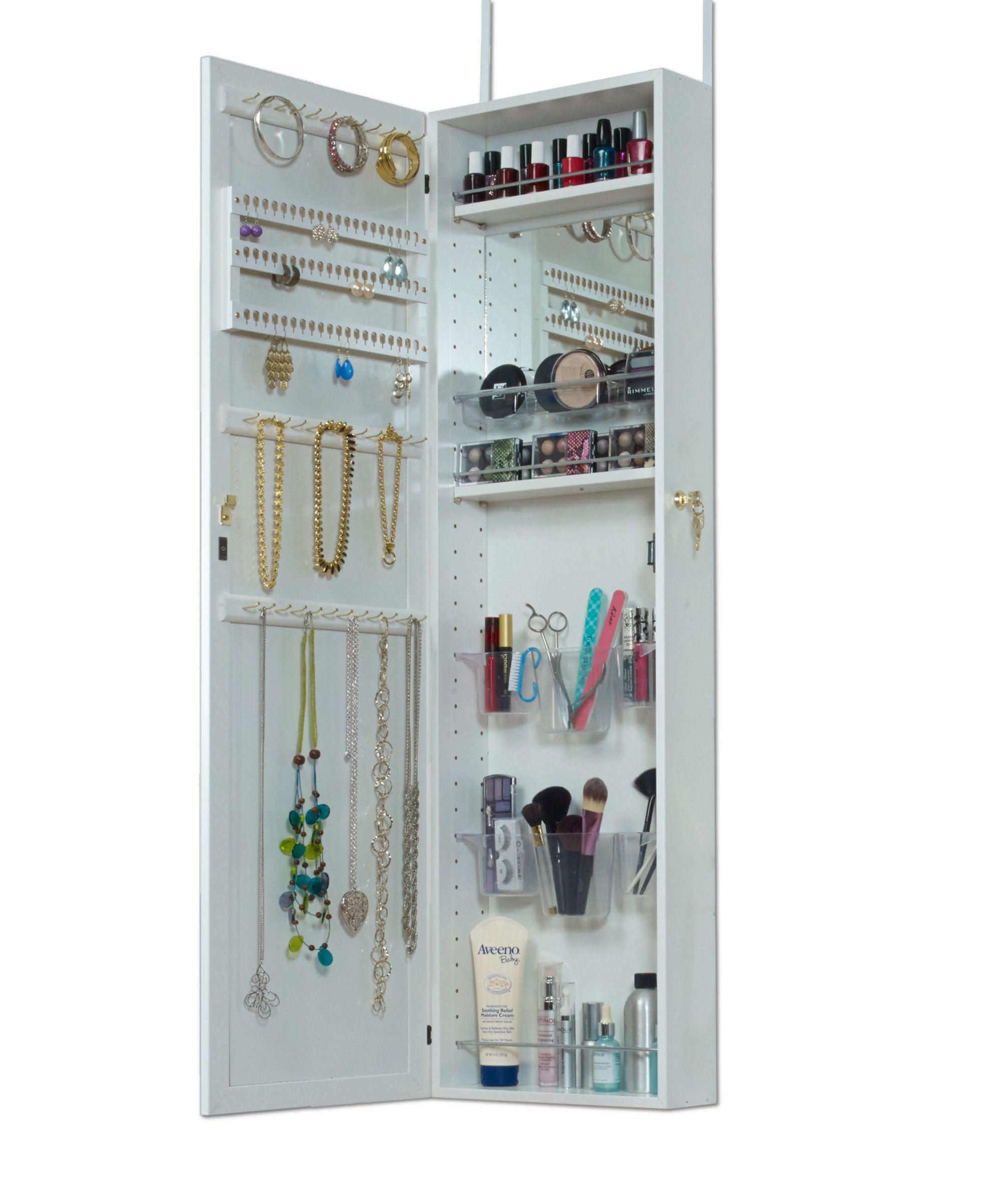 Mirrotek Over The Door Combination Jewelry and Makeup Armoire, White by Mirrotek (Image #1)