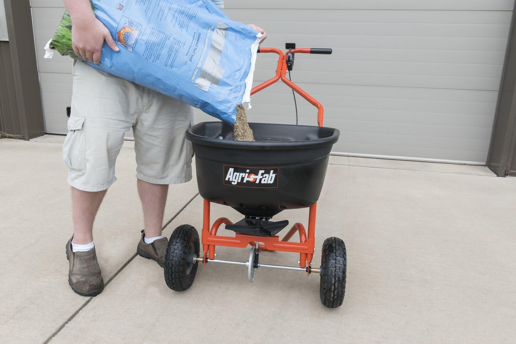 Agri-Fab Broadcast Spreader, 110 lb Capacity, Orange/Black