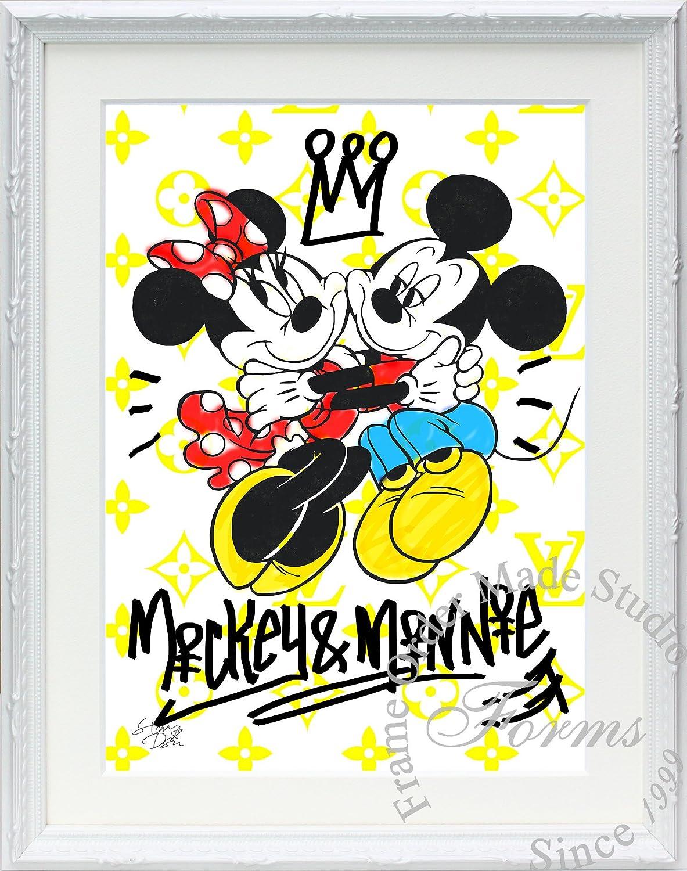 アートショップ フォームス ディズニー×ブランドオマージュアート/スターデザイン「ミッキー&ミニー×ルイヴィトン(W)」A4ポスター B073S1YH1D