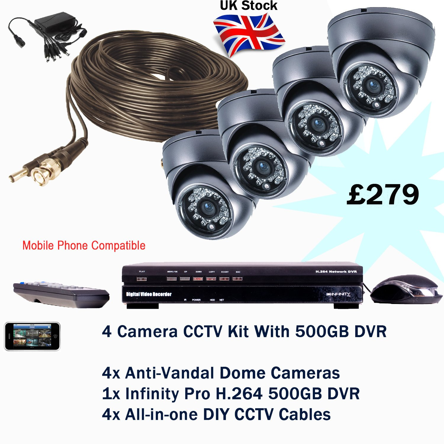4 Camera Cctv Kit Diy Tools Wiring For Home