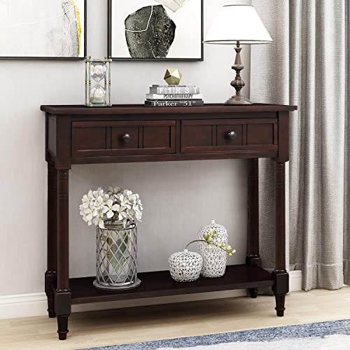 2 Drawer Console Table Sofa Table with Shelf Storage for Entryway Living Room Table Espresso