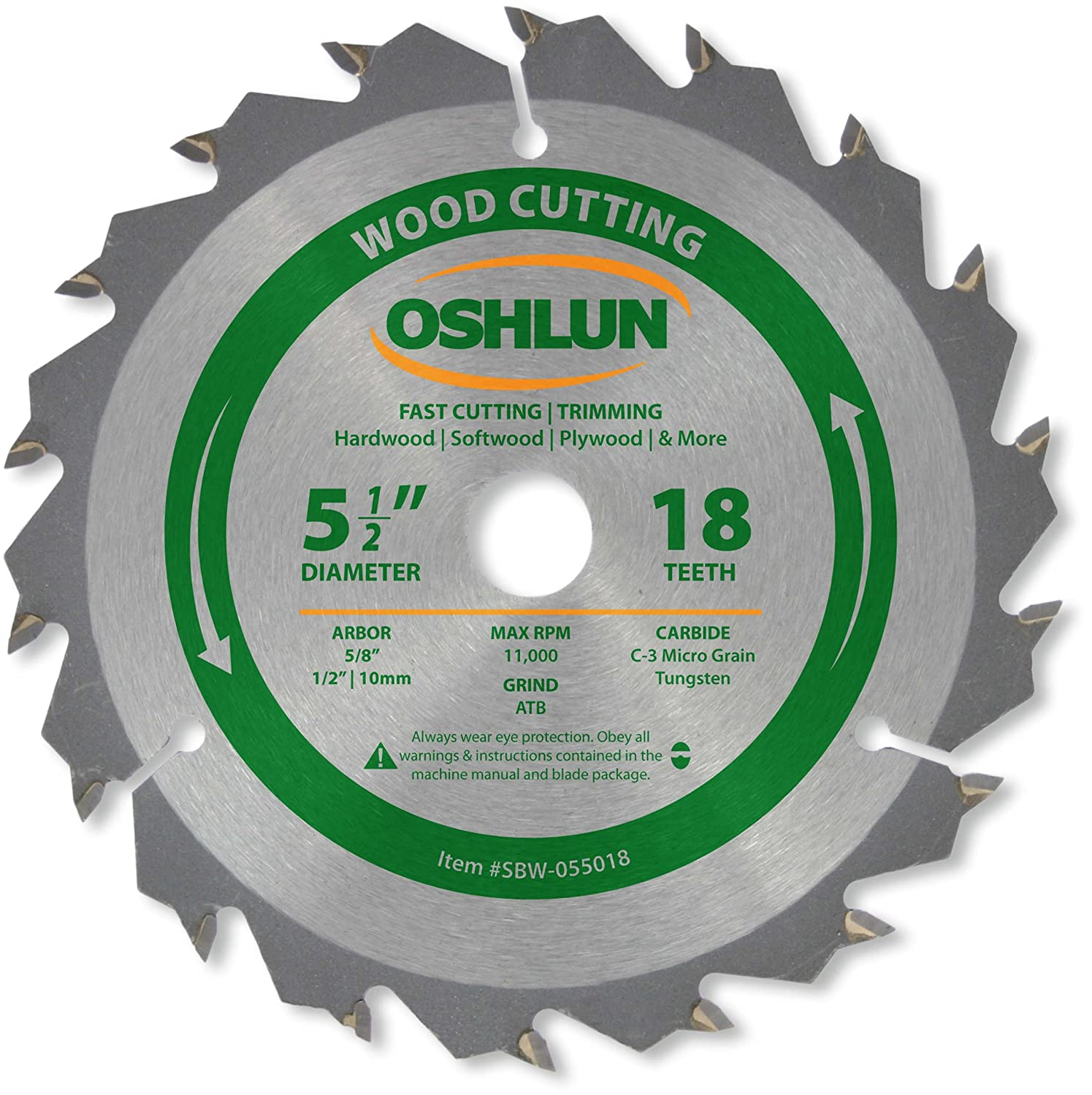 Oshlun sbw 055024 5 12 inch 24 tooth atb general purpose and oshlun sbw 055024 5 12 inch 24 tooth atb general purpose and trimming saw blade with 58 inch arbor 12 inch and 10mm bushings circular saw blades greentooth Images