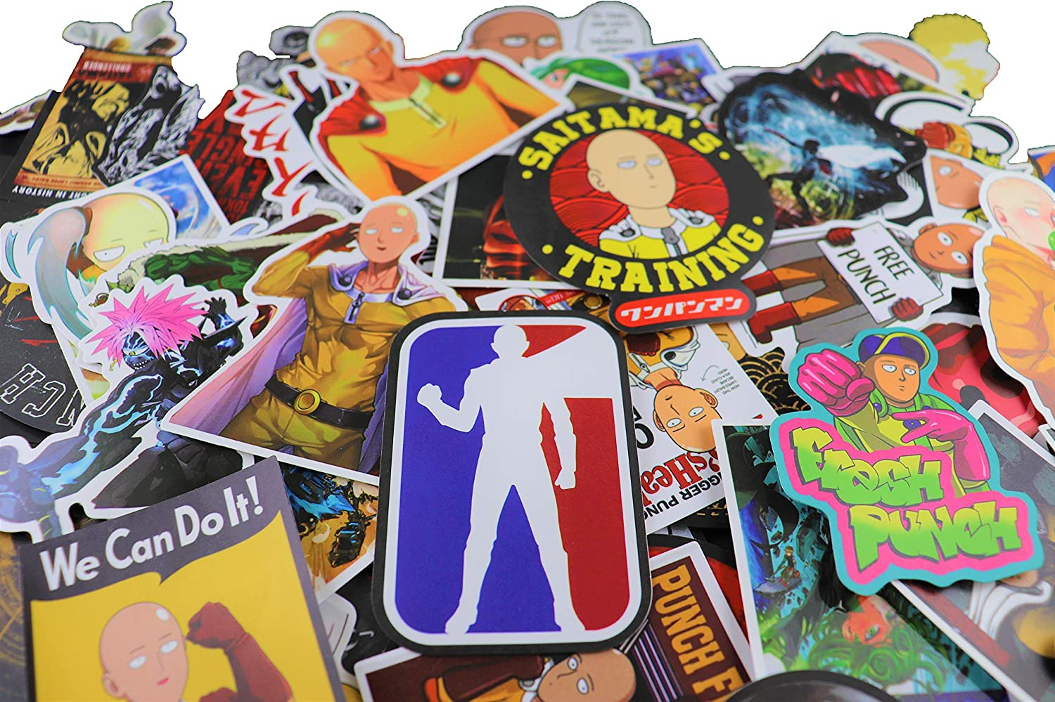 100 pcs One Punch Man Waterproof Stickers Bomb Superheroes for Laptop, Notebooks, Car, Bicycle, Skateboards, Luggage Decoration (One Punch)