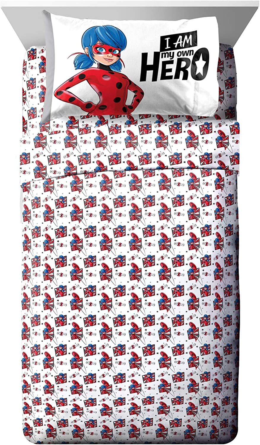 4 Piece Set Super Soft and Cozy Kid/'s Bedding Features Marinette Official Miraculous Ladybug Product Jay Franco Miraculous Ladybug Superhero Full Sheet Set Fade Resistant Microfiber Sheets