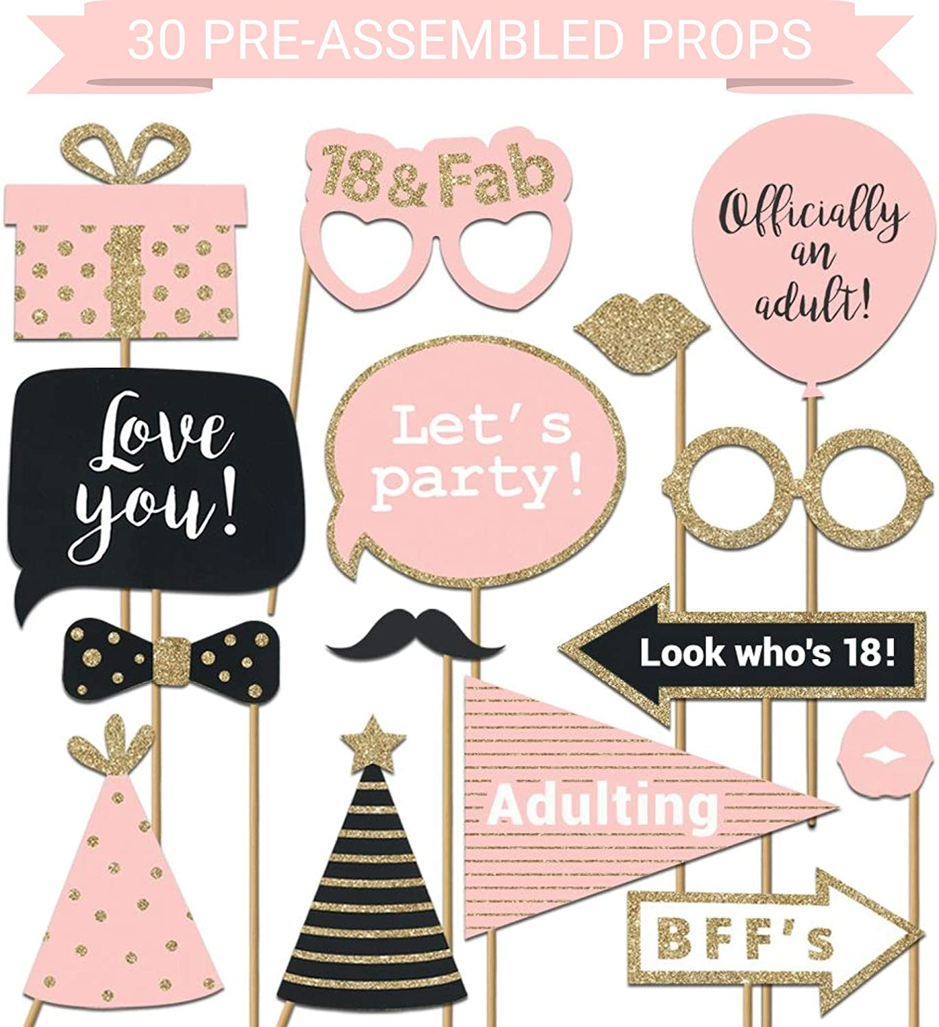 Fully Assembled 18th Birthday Photo Booth Props - Set of 30 - Pink & Gold Selfie Signs - 18th Party Supplies & Decorations - Cute 18th Bday Designs with Real Glitter - Did we mention no DIY?