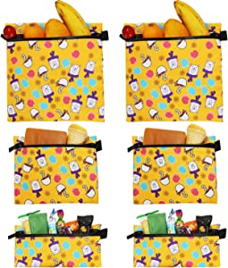 Reusable Sandwich Snack Bags Eco-Friendly Dishwasher Safe Lunch Bag with Zipper, 6-Piece Food Storage Bag, Cosmetic Bag, Cable Travel Storage Bag-Yellow