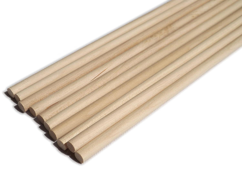 100 Pack of 6mm Hardwood Wooden Dowels - 60cm Long Trustleaf