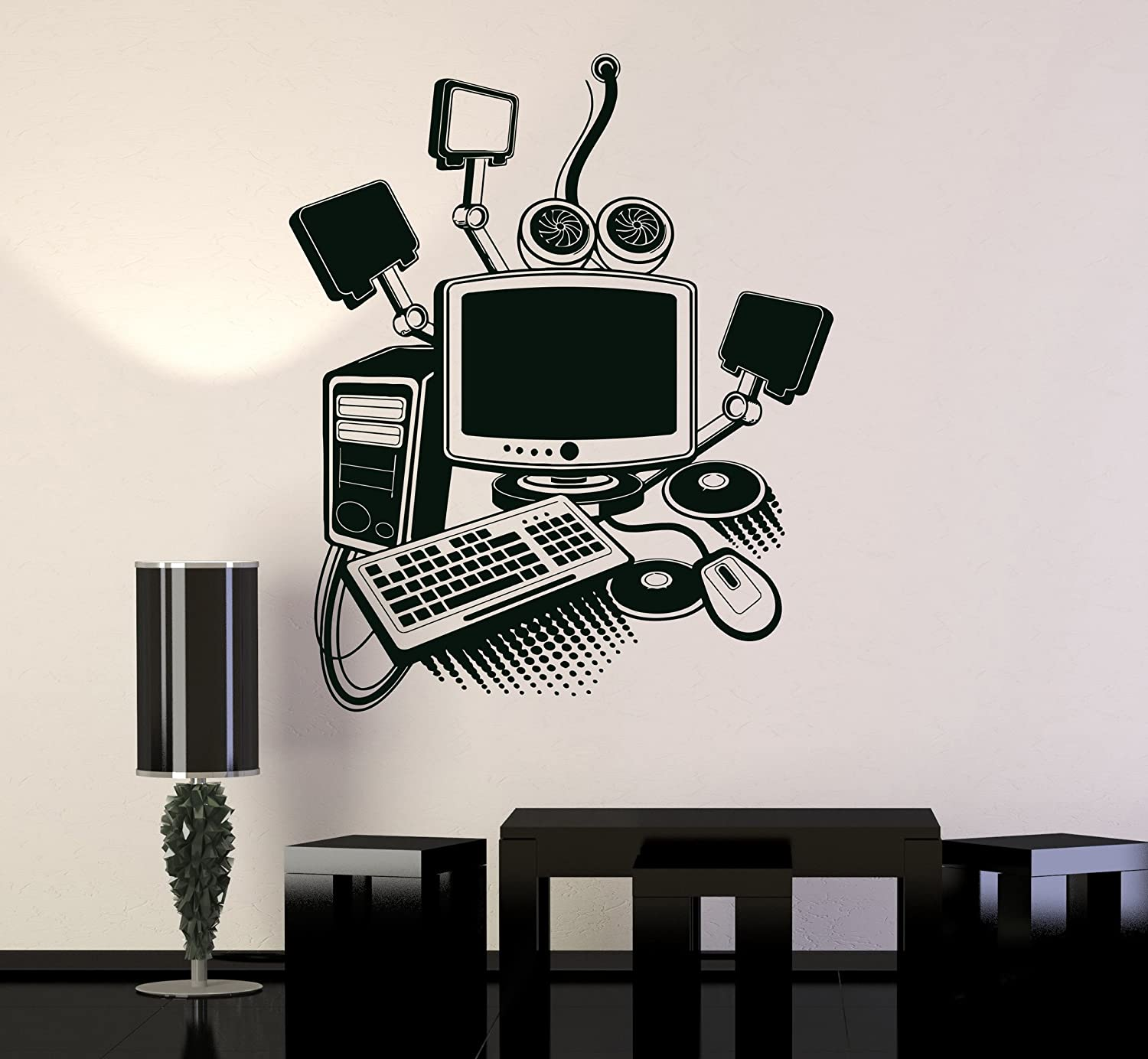 Amazon com vinyl wall decal computer art gamer play room pc kids mural stickers ig3213 black home kitchen