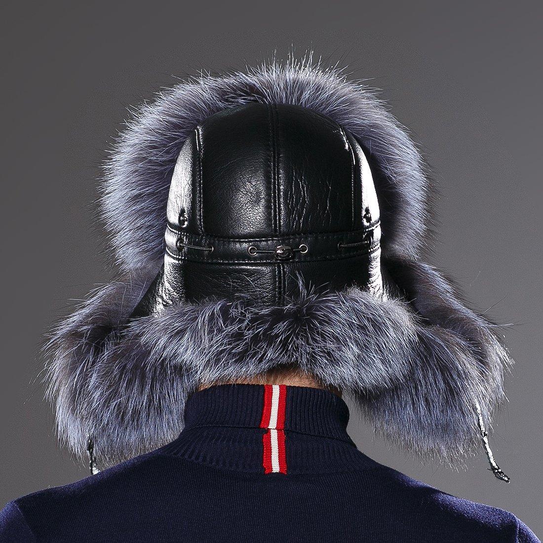 URSFUR Winter Mens Trapper Hat Real Leather Silver Fox Fur Russian Ushanka Cap by URSFUR (Image #8)
