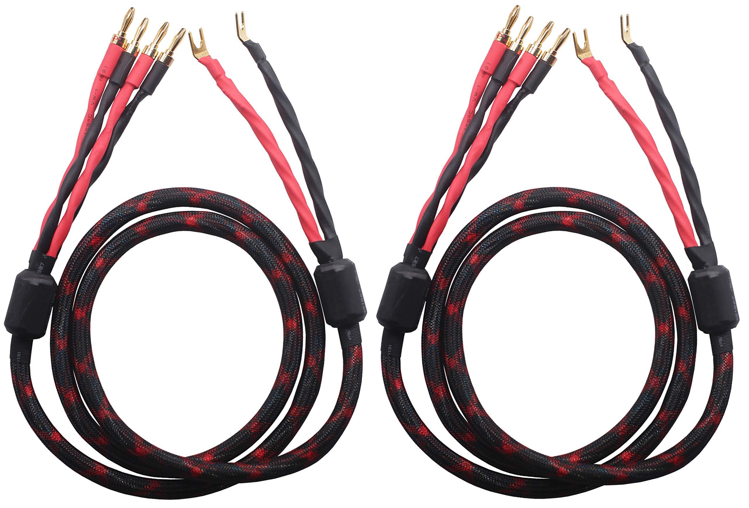 KK Cable K2Y-4B Bi-Wire Speaker Cable (4 Banana plugs - 2 Spade plugs), 1pair set (Total 8 Banana plugs, 4 Spade plugs), K2Y-4B. (1.5M(4.92ft))