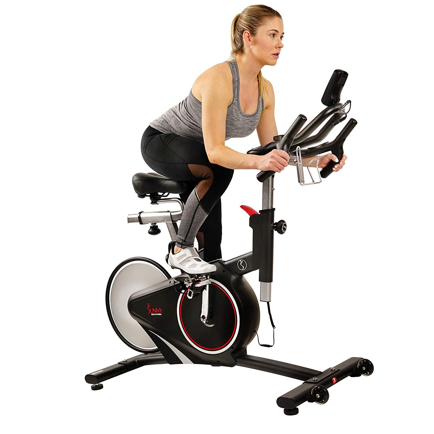 Sunny Health Fitness Magnetic Belt Rear Drive Indoor Cycling Bike, High Weight Capacity with RPM Cadence Sensor Pulse Rate Monitor – SF-B1709