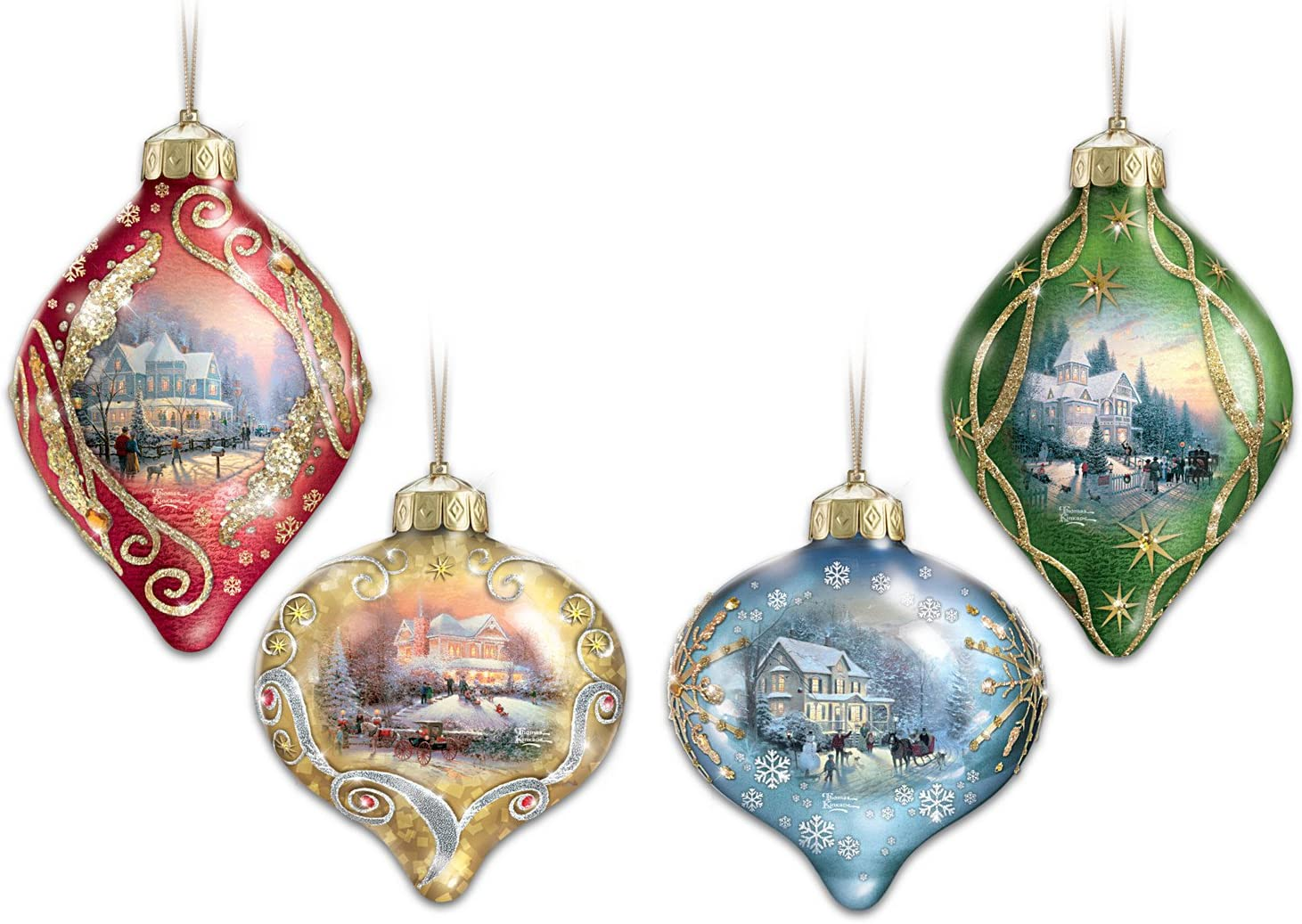 Thomas Kinkade Light Up the Season Illuminated Glass Ornaments: Set of 4 by The Bradford Exchange