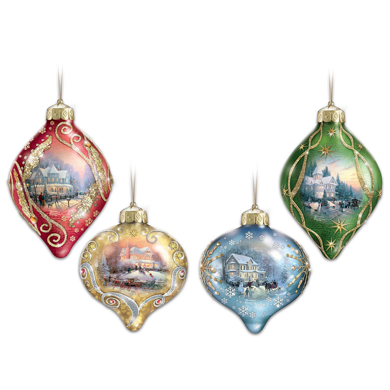 Thomas Kinkade Light Up The Season Illuminated Glass Ornaments Set Of 4 By The Bradford Exchange