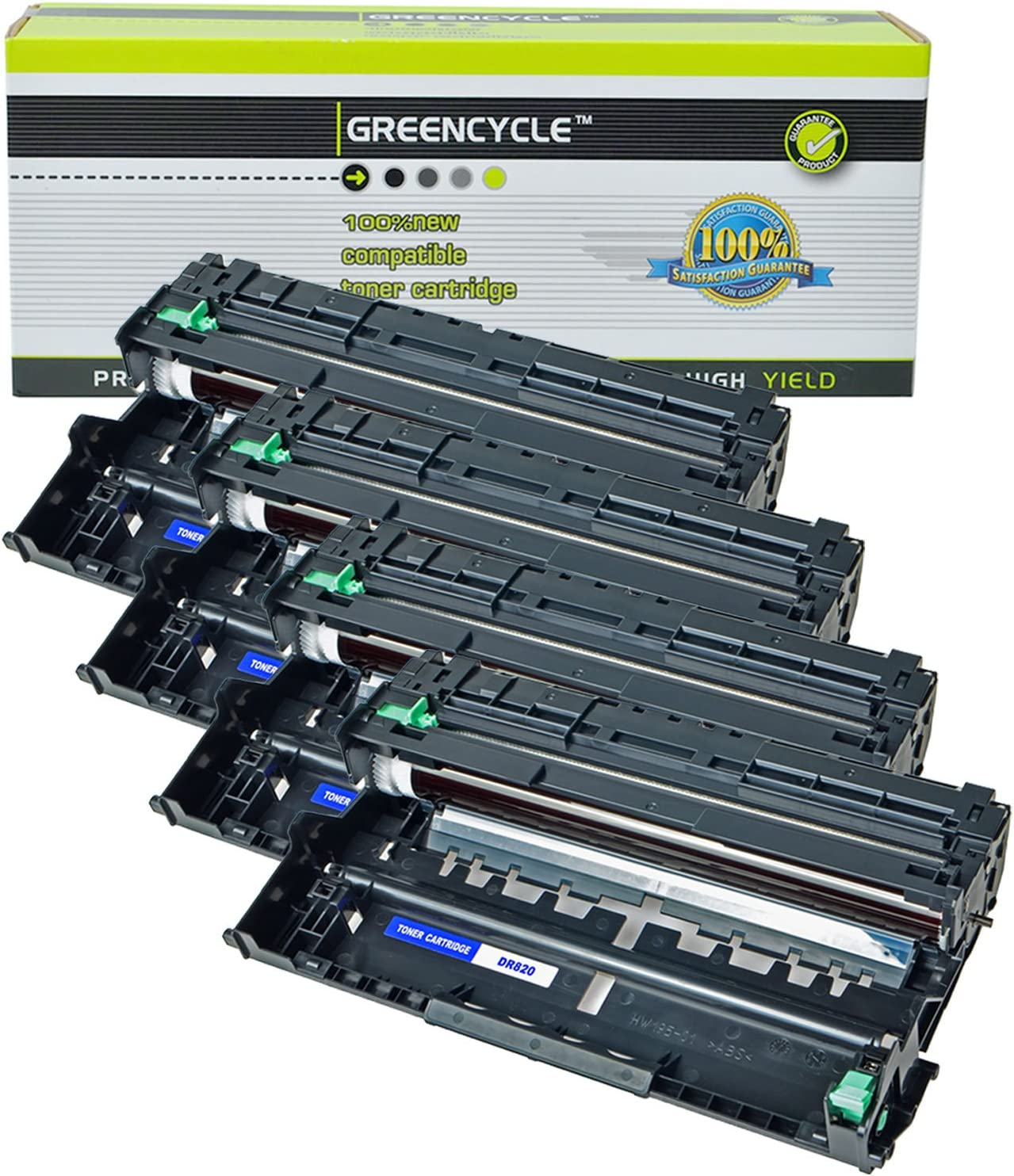 Black,4 Pack GREENCYCLE Compatible for Brother DR820 Drum Unit Replacement for DCP-L5500DN//L5600DN//L5650DN HL-L6200DW//L6200DWT//L5200DWT//L5200DW//L5100DN//L5000D MFC-L5850DW//L5900DW Printer