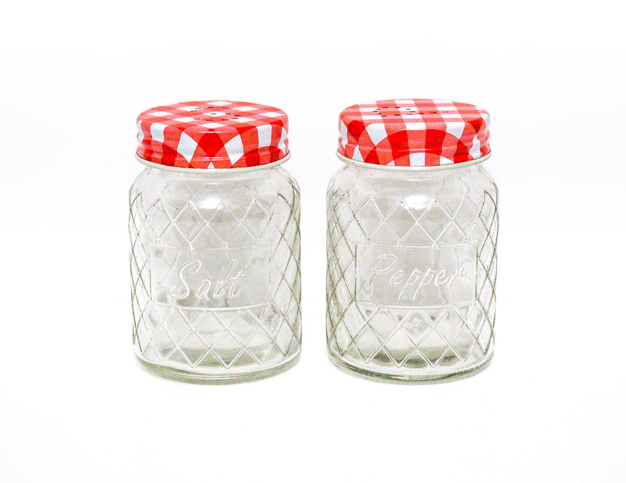 Home Essentials & Beyond Decorative Diamond Design Glass Set of 2 Salt & Pepper Shaker Spice Bottles Barbecue Condiment Bottles Kitchen Supplies