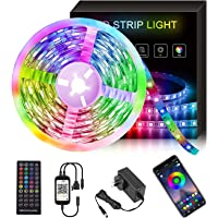 19.7ft/6m Bluetooth LED Strip Lights Control by App and Remote, Music Sync,Easy Installation, RGB Color Changing LED…