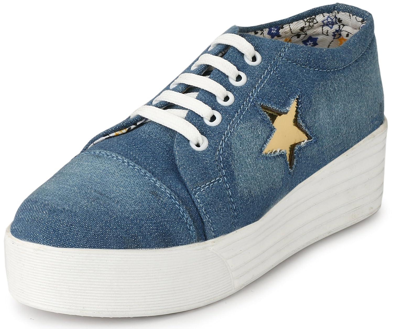 7f926c12cc6 Walktoe Revoke Denim High Heel Casual Gold Star Sneaker Shoes for  Women Girls  Amazon.in  Shoes   Handbags