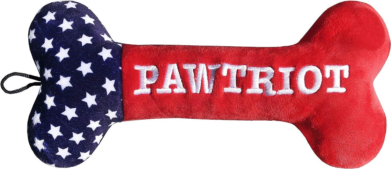 Huxley & Kent | Pawtriot Plush Bone (Large) | Lulubelles Power Plush Dog Toy | 4th of July Dog Toy | Durable & Machine Washable | Squeaker Dog Toy