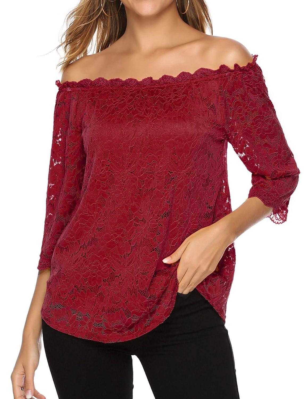 Bloggerlove Womens Lace Off Shoulder Tops Boho Casual Loose Blouse Shirts