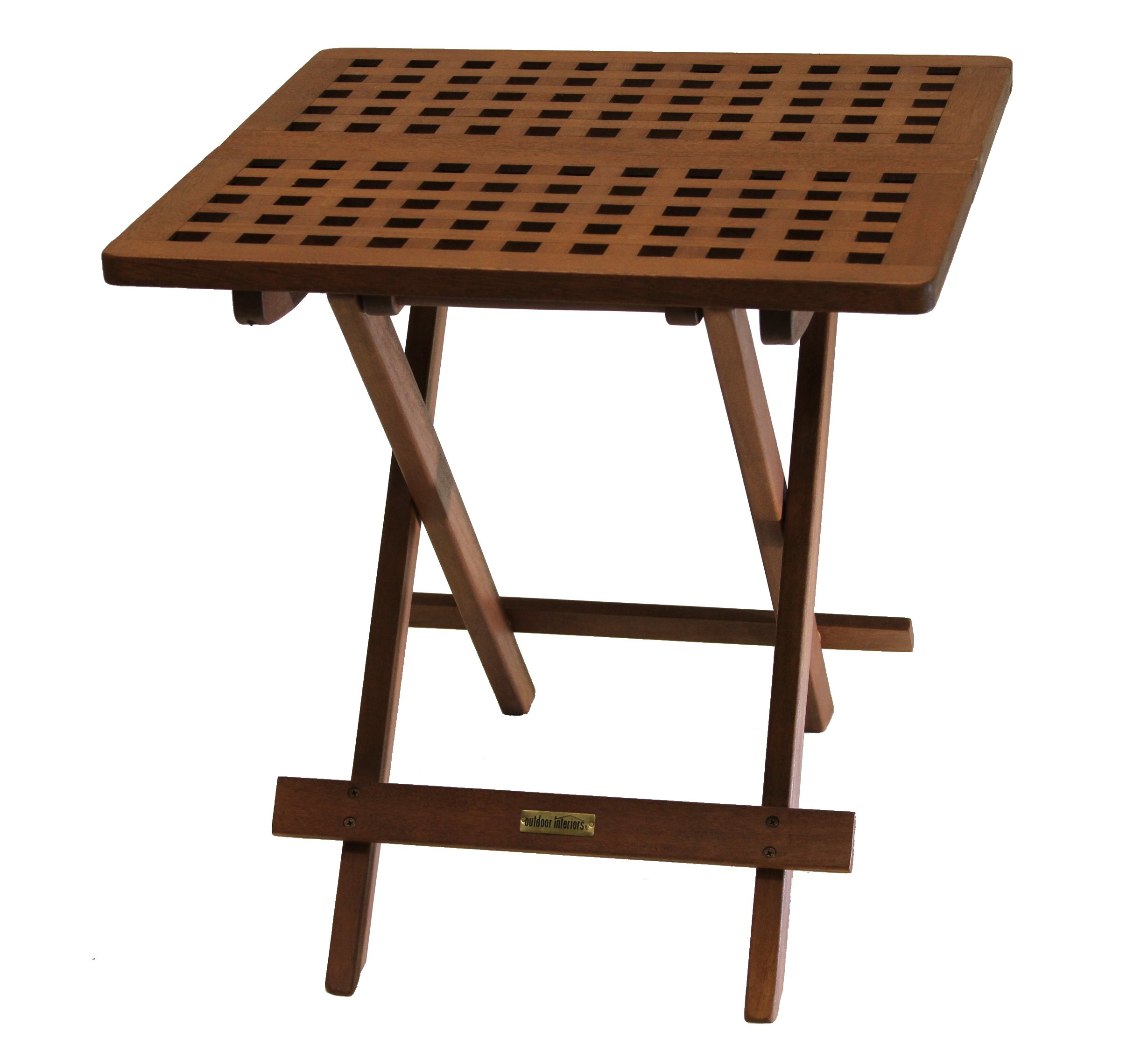 Outdoor Interiors 10070 Eucalyptus Folding Side Table, Fully Assembled by Outdoor Interiors