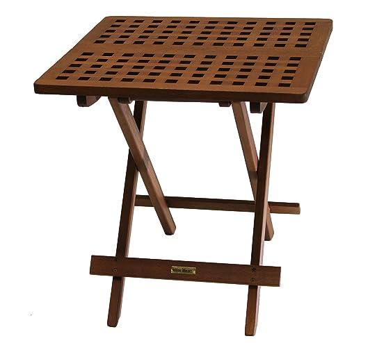 Outdoor Interiors- 45 Eucalyptus Folding Side Table, Fully ...