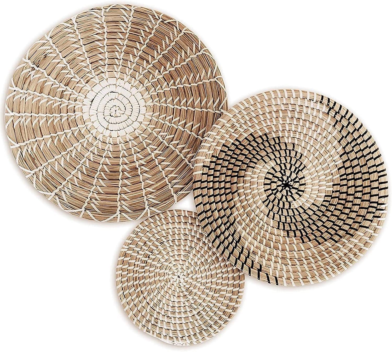 ZYUN Woven Wall Basket Set Bohemia Styled Baskets Decor Handmade Seagrass Seaweed Decorative Bowl Natural Materials Handmade Fruit Plate Round Woven Hanging Wall Basket Decor