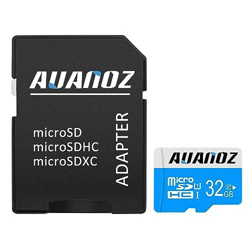 Carte Mémoire MicroSD 32 Go Auanoz Micro SDHC Classe 10 UHS-I Carte Mémoire Haute Vitesse Pour Téléphone, Tablette Et PC - Avec Adaptateur (Bleu-32gb)
