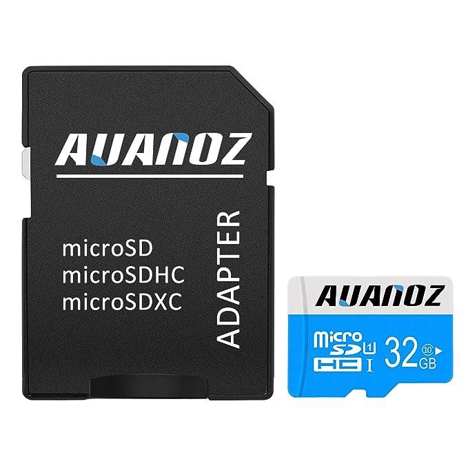 Tarjeta Micro SD de 32 GB Auanoz Micro SDXC Clase 10 UHS-I de Alta Velocidad para teléfono, Tableta y PC – con Adaptador Azul Blue-32gb
