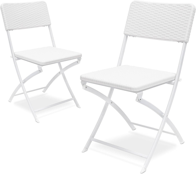 Relaxdays 2 10020055_419-Sillas Plegables de jardín, Blanco, 50x44x82 cm