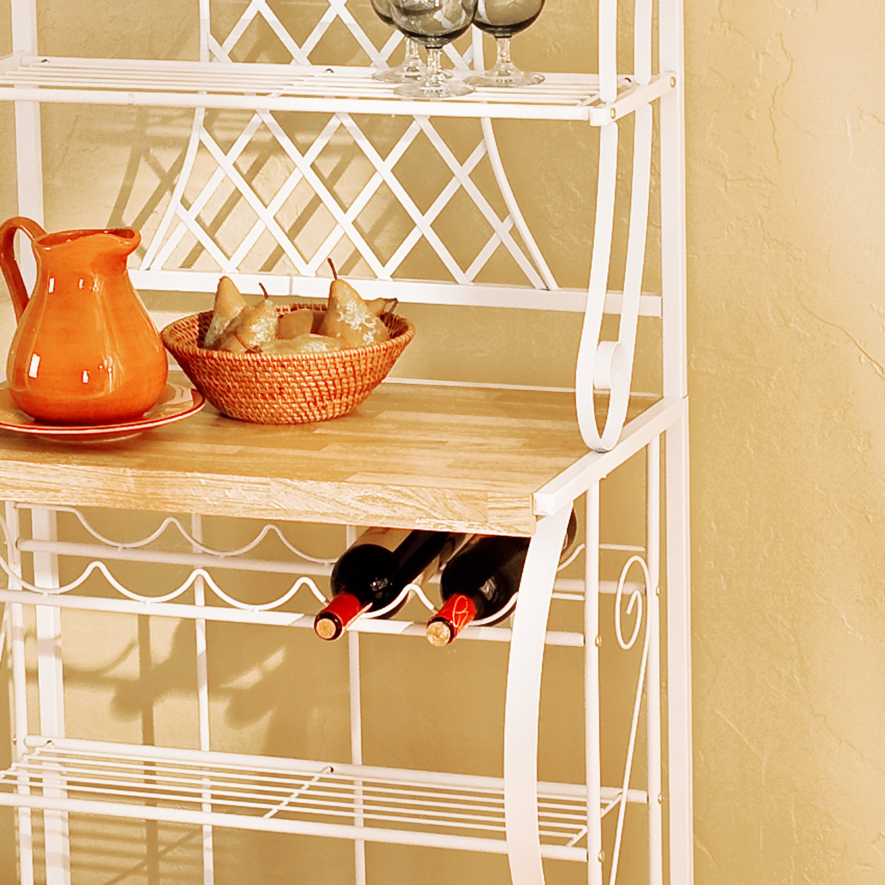 Southern Enterprises Trellis Bakers Rack with Scroll Work, White with Oak Finish by SEI (Image #5)