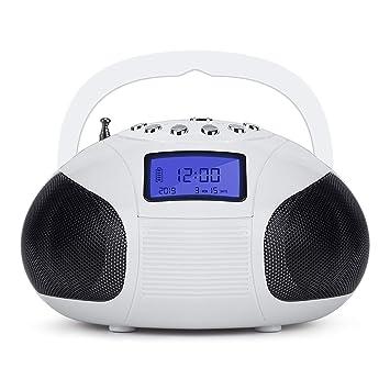 August SE20 – Radio FM Portátil con MP3 y Alarma Despertador – Lector de Tarjetas, Puerto USB y Conexión Auxiliar