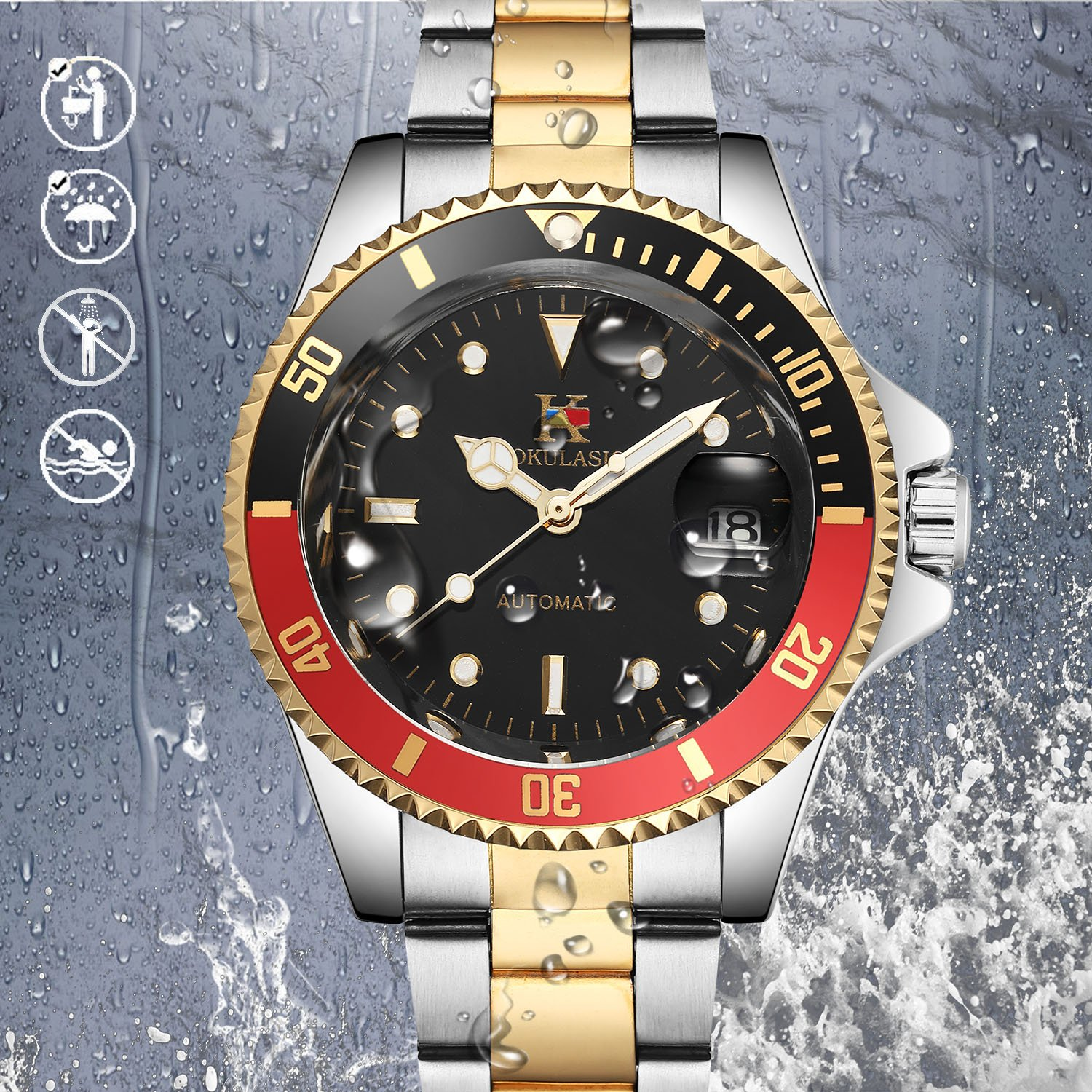 AOKULASIC Mens Automatic Self-Wind Wrist Watch with 100Ft Waterproof and Classic Date Displayer. (Black Red)