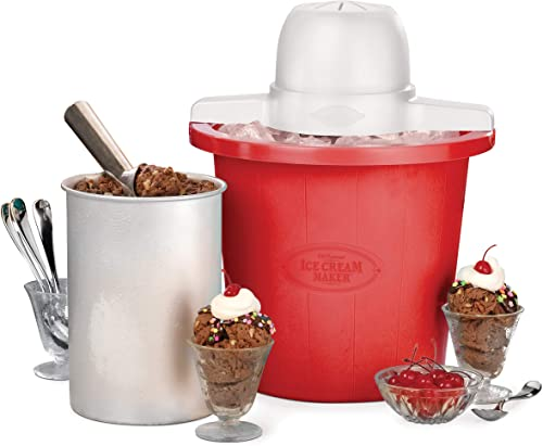 Nostalgia ICMP4RD 4-Quart Bucket Electric Ice Cream Maker, Red