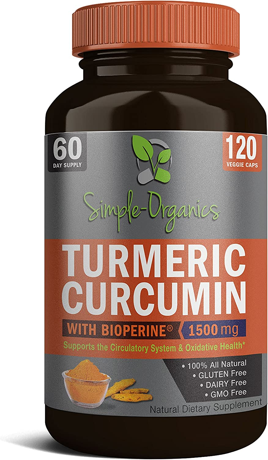 Turmeric Curcumin with Bioperine 1500mg Promotes Anti-Inflammatory, Antioxidant Anti-Aging Supplement. Joint Pain Relief 100 All Natural Gluten Free Non-GMO Made in USA