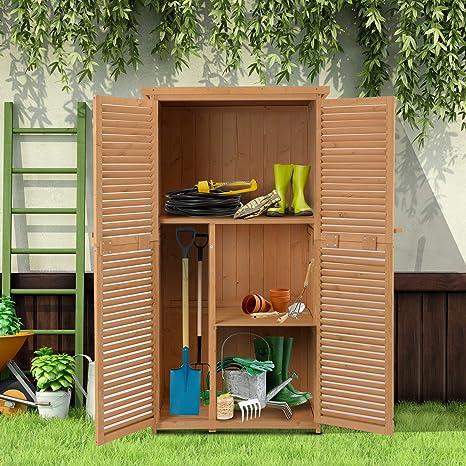 Outsunny Cobertizo de Madera Caseta Exterior Armario para Herramientas de Jardinería Persiana Delantera Compartimientos de Diferentes Tamaños 87x46.5x160cm ...