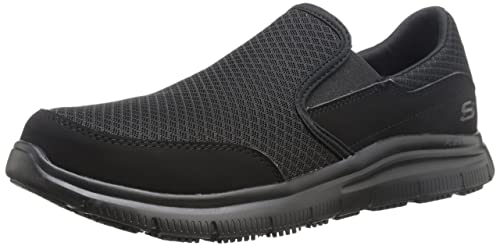 Skechers Men's Black Flex Advantage Slip Resistant Mcallen Slip On - 10 D(M) US