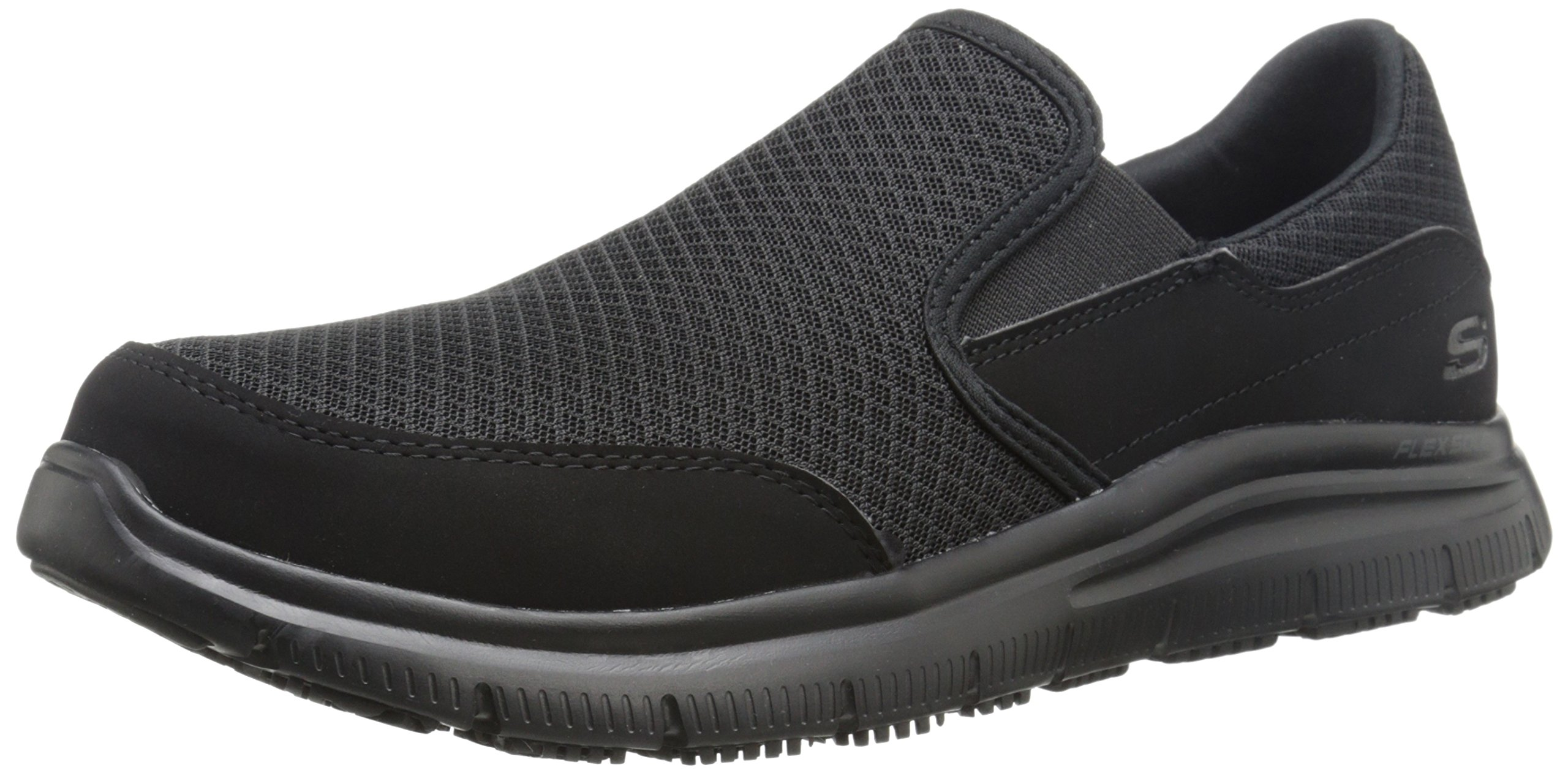 Skechers Men's Black Flex Advantage Slip Resistant Mcallen Slip On - 14 D(M) US