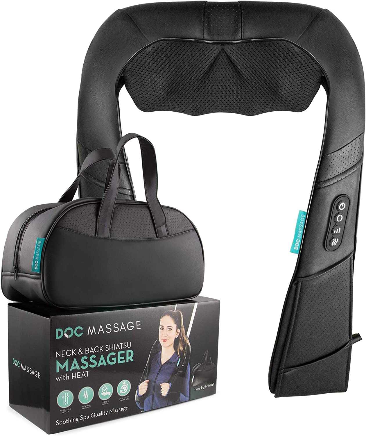 Neck Massager with Heat Stop Annoying Neck Pain Massage Away Stiffness, Tension in Your Neck, Back, Shoulders, and Legs Do It in Style, Do It with DOCMASSAGE